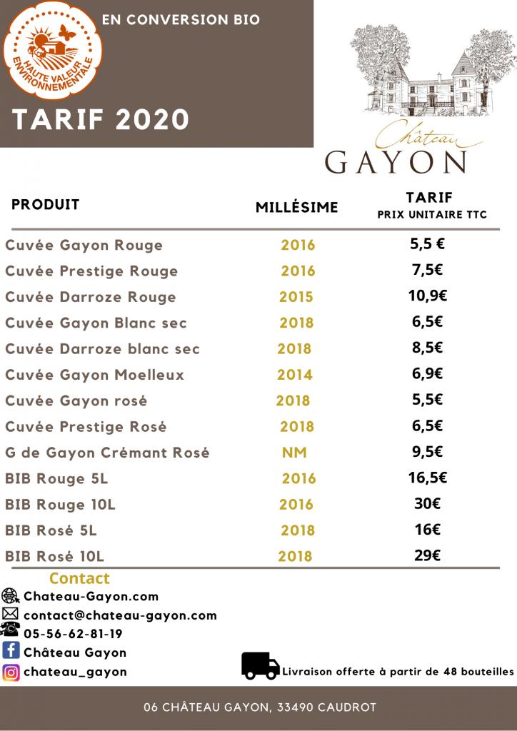 Tarif Gayon 2020